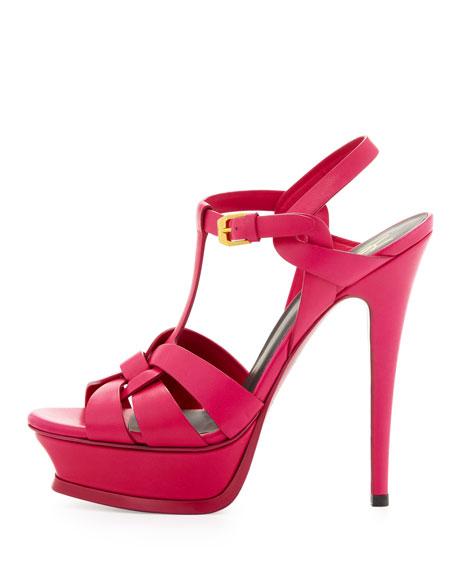 Tribute High-Heel Leather Sandal, Fuchsia