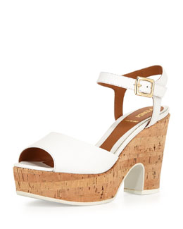 Fendi Platform Cork Mid-Wedge Sandal, White