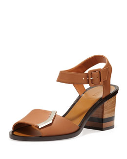 Fendi Leather Logo Sandal