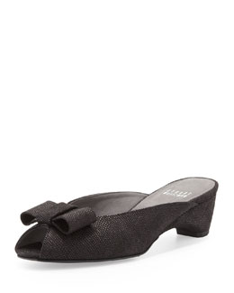 Stuart Weitzman Candy Peep-Toe Slipper, Black