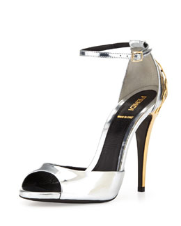 Fendi Metallic Honeycomb-Heel Sandal, Silver/Gold