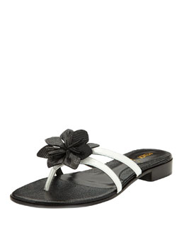 Fendi Lizard-Embossed Flower Thong Sandal, White/Black