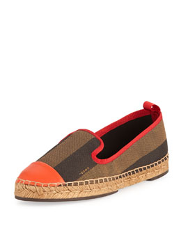 Fendi Pequin Striped Espadrille Slip-On Shoe, Brown/Red