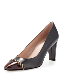 Stuart Weitzman Caprice Pointed-Toe Pump, Black