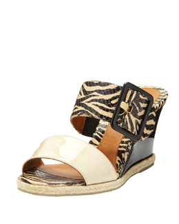 Fendi Patent Double-Strap Wedge Slide, Black