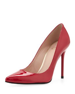 Stuart Weitzman Nouveau Patent Point-Toe Pump, Raspberry