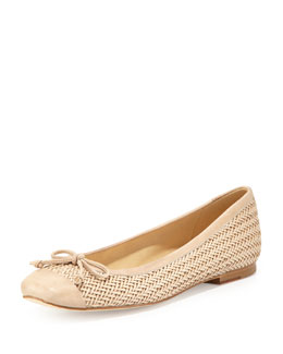 Stuart Weitzman Stringtip Woven Leather Ballet Flat, Neutral