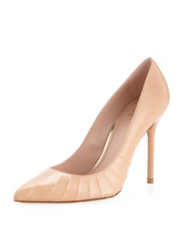 Stuart Weitzman Threads Ruched Pointy Pump, Adobe