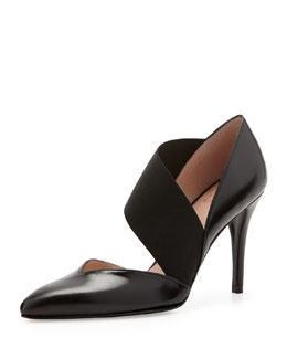 Stuart Weitzman Turner Cross-Strap Leather Pump, Black