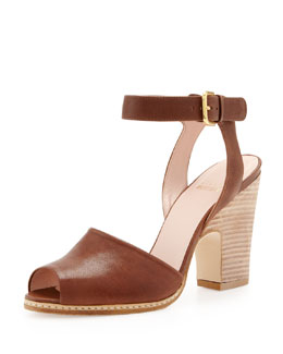 Stuart Weitzman Waycool Leather Open-Toe Sandal, Walnut
