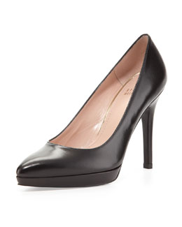 Stuart Weitzman Zsazsa Point-Toe Leather Pump, Black