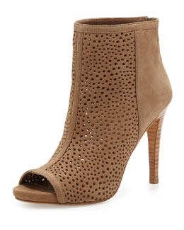 Stuart Weitzman Inandout Perforated Peep-Toe Bootie, Tan