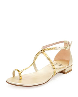 Stuart Weitzman Shackle Chain-Strap Toe-Ring Sandal