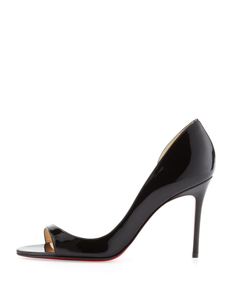 louboutin men's christian louboutin - Christian Louboutin Toboggan Peep-Toe Patent Red Sole Pump, Black