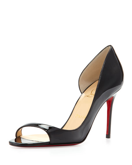 e22ebbcebe79b ... italy christian louboutin toboggan peep toe patent red sole pump black  0f452 c19ec