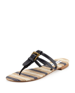 Manolo Blahnik Kinabal Buckled Thong Sandal, Navy Blue