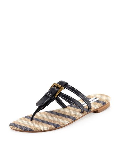 Kinabal Buckled Thong Sandal, Navy Blue