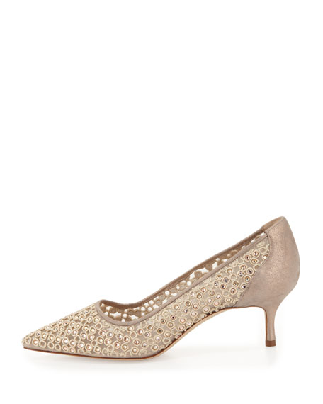 Cerchi Crystal Low-Heel Pump, Champagne