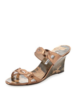 Manolo Blahnik Chain Link Wedge Sandal, Bronze
