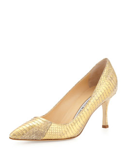 BB 70mm Low-Heel Snake Pump, Gold