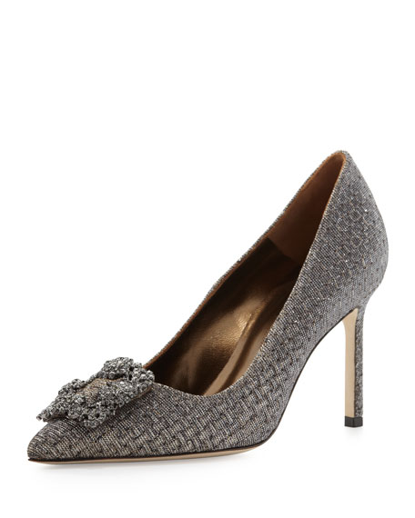 Hangisi Crystal-Buckle Pump, Bronze