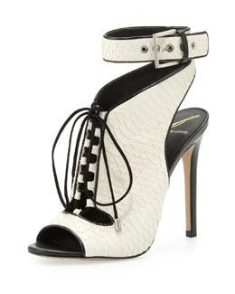 B Brian Atwood Lodosa Lace-Up Snake Sandal, White/Black