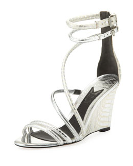 B Brian Atwood Sedini Metallic Mixed-Leather Wedge, Silver