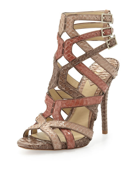 73d4943277d3 B Brian Atwood Carbinia Triple-Buckle Snake Cage Sandal