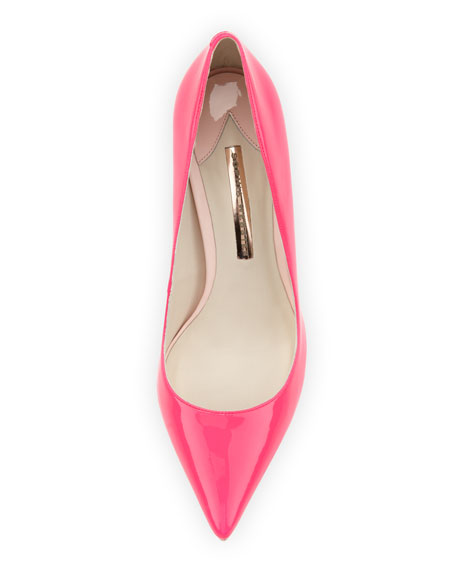 Lola Glossy Point-Toe Pump, Hot Pink/Blush