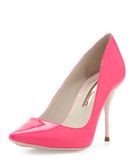 Lola Glossy Point-Toe Pump, Hot Pink/Blush