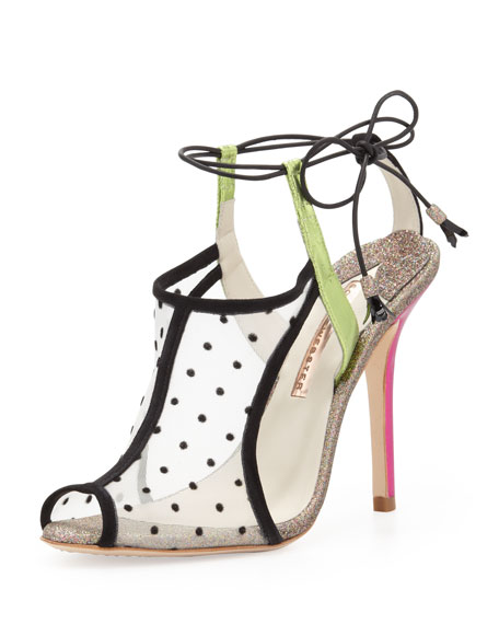 Sophia Webster Blake Polka Dot Mesh Sandal Black