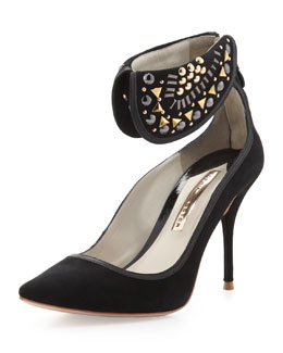 Sophia Webster Leandra Suede Ankle-Collar Pump, Black