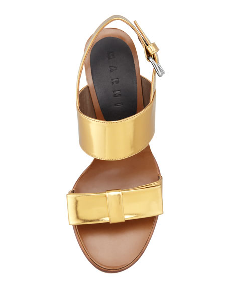 Metallic Low-Heel Bow Sandal, Gold Sand