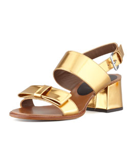 Marni Metallic Low-Heel Bow Sandal, Gold Sand