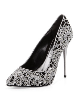 Alexander McQueen Crochet Embroidered Velour Pump, Black