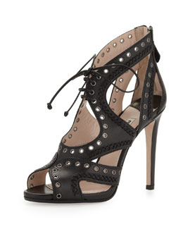 Miu Miu Napa Lace-Up Eyelet Sandal, Black