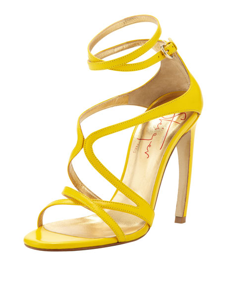 Strappy Leather Convex-Heel Sandal, Yellow