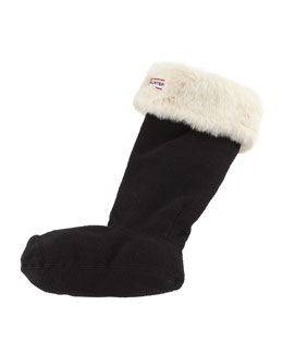 Hunter Boot Fleece Welly Socks, Polar White