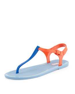 Hunter Boot Original T-Strap Jelly Sandal, Blue Lilly