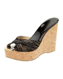 Jimmy Choo Perfume Crisscross Suede Wedge Sandal, Black