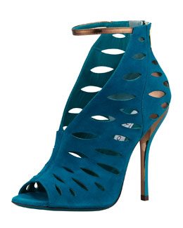 Jimmy Choo Tamera V-Neck Cutout Ankle-Wrap Sandal, Blue