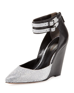 Pour la Victoire Lidia Lizard-Embossed Wedge, White/Black