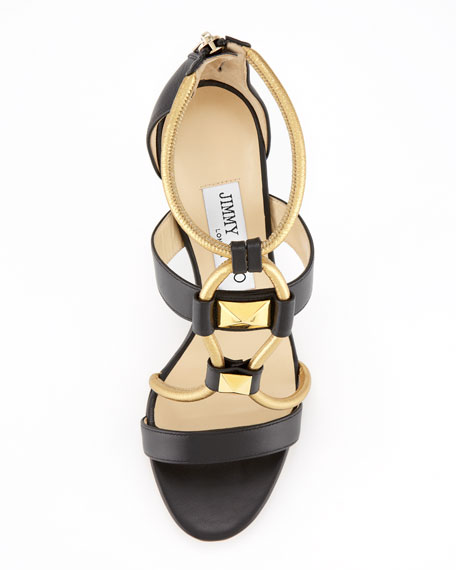 Venus Leather Stud Sandal, Black/Gold
