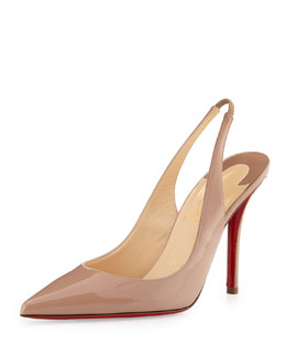 Christian Louboutin Apostrophy Red-Sole Slingback Pump, Beige