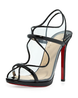 Christian Louboutin Aqua Ronda PVC Red Sole Sandal, Black