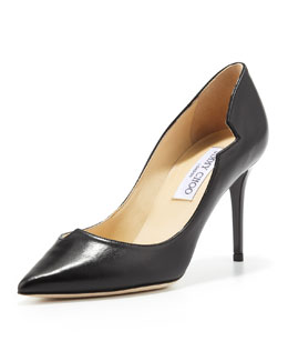 Jimmy Choo Lyric Leather Cutout Pump, Black