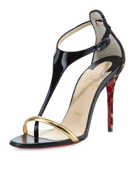 Athena Calf Hair T-Strap Sandal, Black