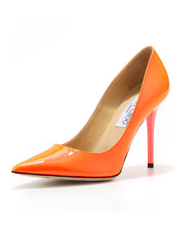 Jimmy Choo Abel Patent Point-Toe Pump, Neon Flame