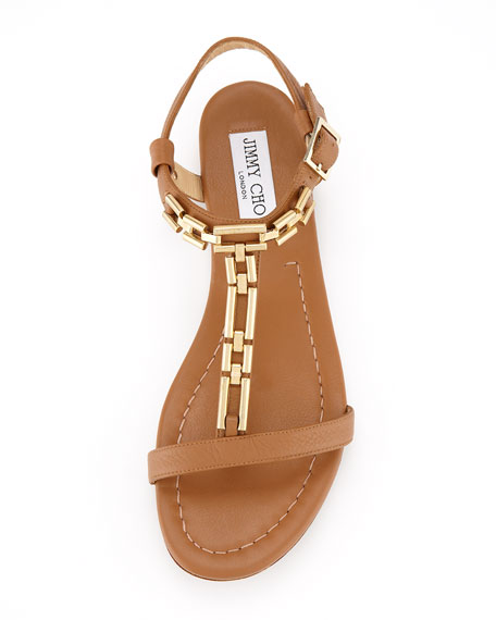 Narcissa Flat Chain Sandal, Brown