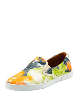 Jimmy Choo Demi Printed Canvas Skater Slip-On